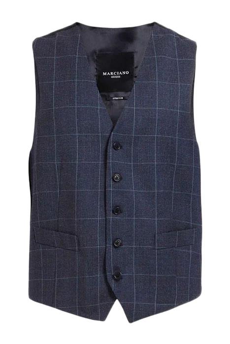 Suit vest prince of wales blue